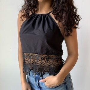 ASOS lace cropped open back tank